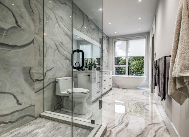 Amazing Bathroom with Walk in Shower and Freestanding Bathtub - Bathroom Renovations Toronto