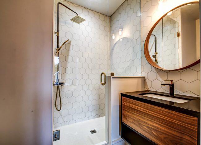 Amazing Bathroom with Wooden Vanity - Bathroom Renovations