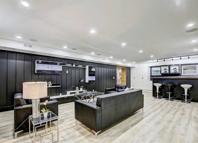 Luxury Family Room in Walkout Basement - Custom Home Builders
