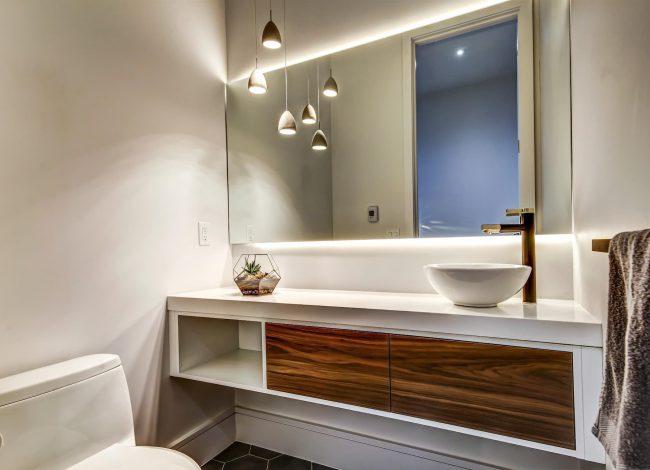 Custom Bathroom with Backlit Wall Mirror - Bathroom Renovations
