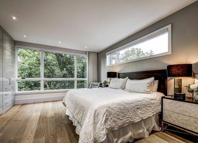 Custom White Closet in Modern Bedroom -Interior Designers