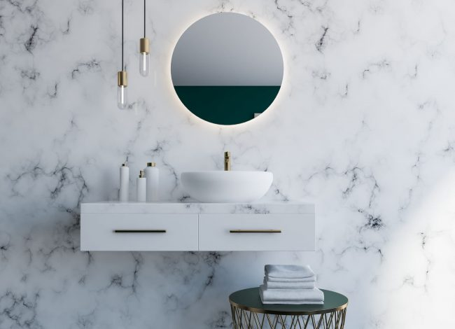 Classic Bathroom with Backlit Wall Mirror - Luxury Home Builders Toronto