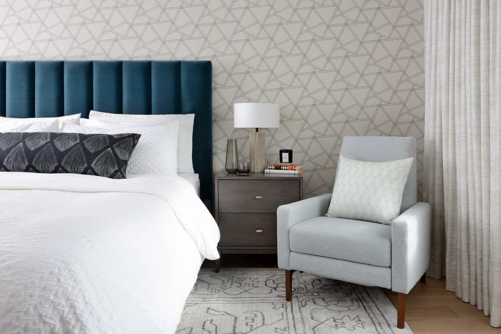 custom bedroom with luxury wallpaper - interior designer toronto