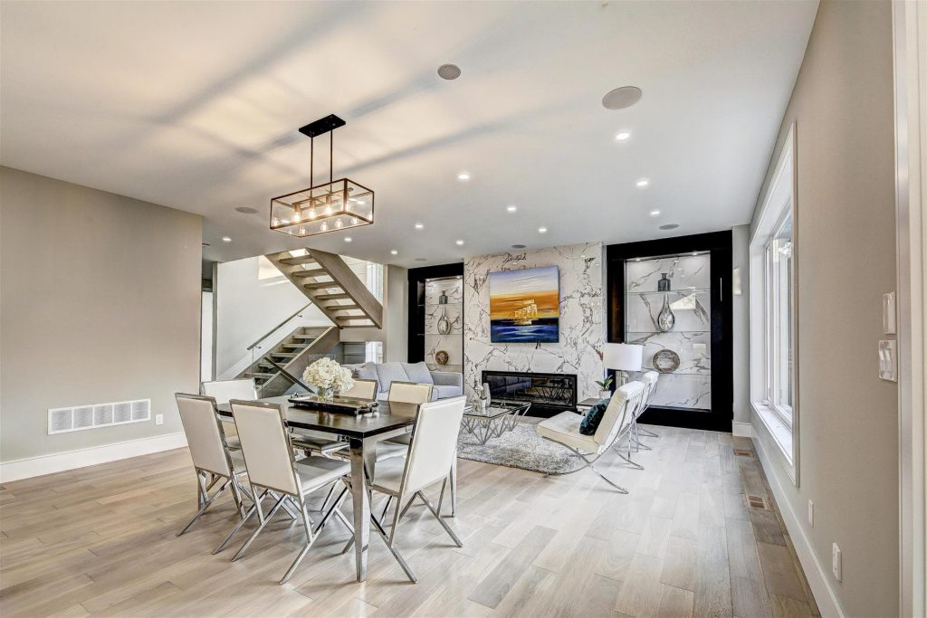 custom-dining-room-with-amazing-marble-wall-decor-and-build-in-fireplace-interior-designer-oakville