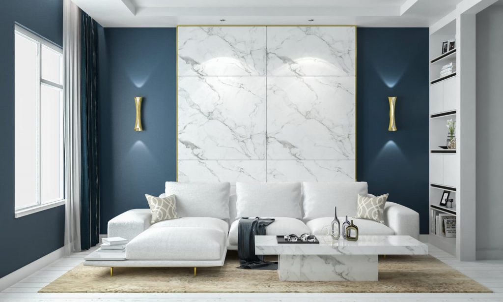 Modern Family Room with Marble Wall Decor