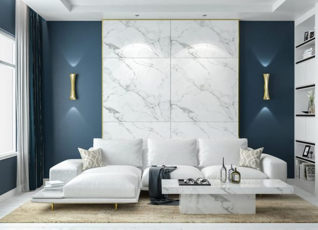 Modern Family Room with Marble Wall Decor - House Builders Toronto