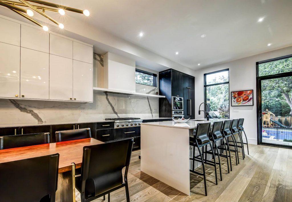 Two Tone White and Black Kitchen Cabinets - Kitchen Renovations Toronto