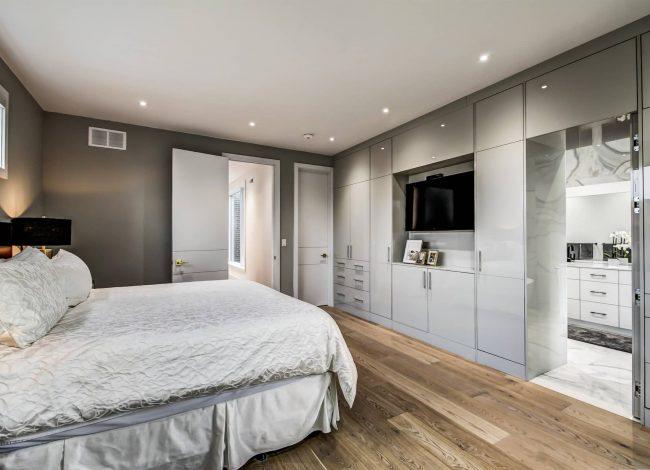 Modern Master Bedroom with Gray Wall Painting - Interior Designer Toronto