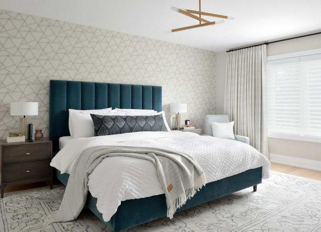 Modern Bedroom with Carpet Floor and Wallpaper Decor - Home Renovations Toronto