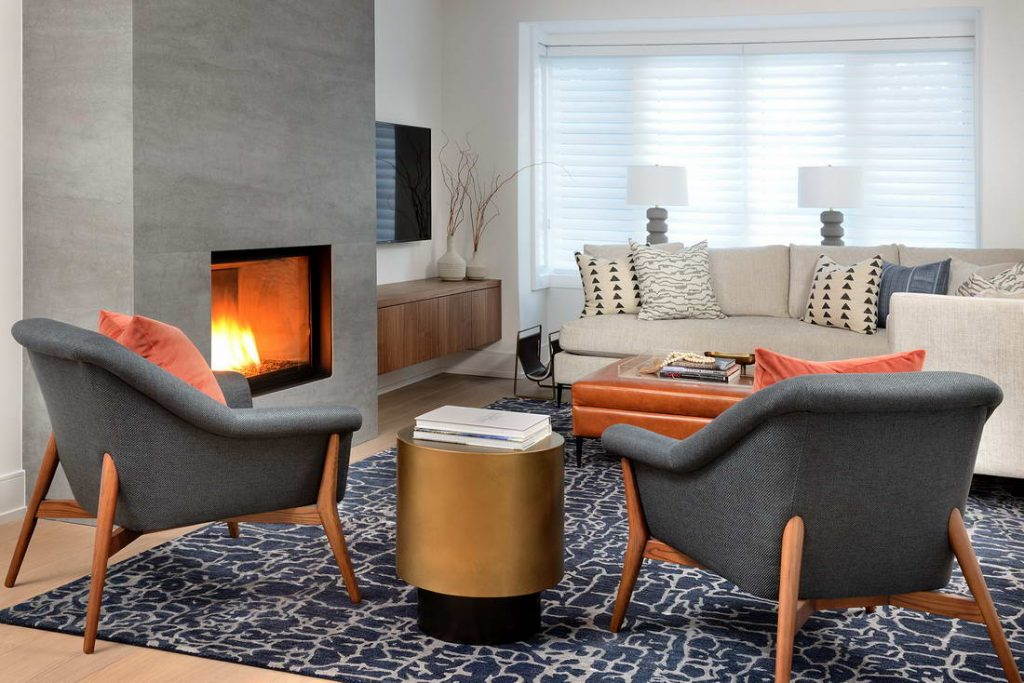 luxury living room with build in fireplace - home remodeling
