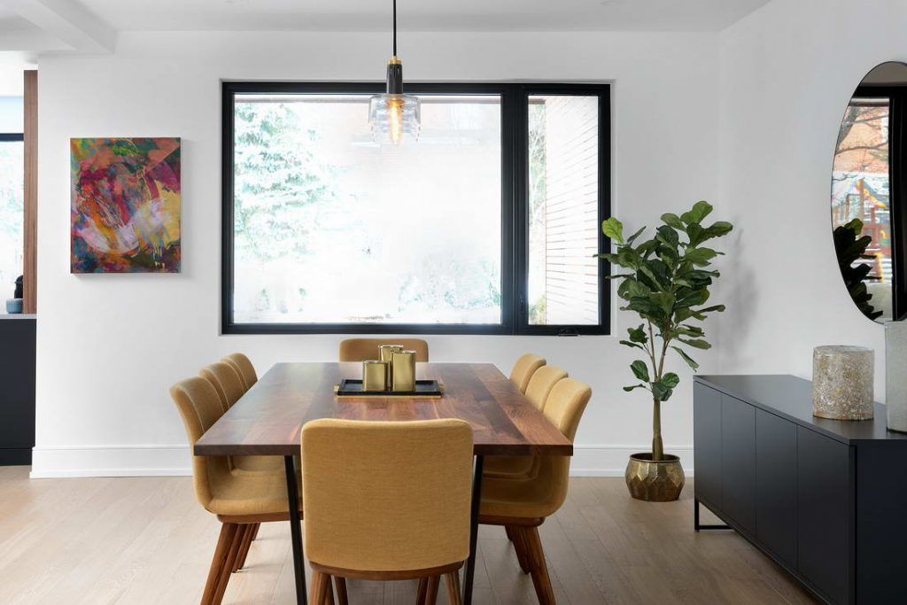 modern dining room with baseboard trim - home remodeling toronto