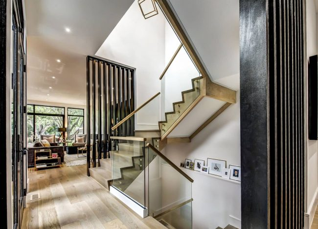 Interior Staircase to Second Floor with Glass Railings - Interior Designer Oakville
