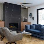 modern living room with custom cabinets - custom home builder