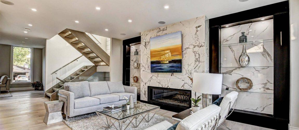 Custom Family Room with Build in Fireplace - Custom Home Builders Toronto