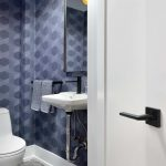 small bathroom with amazing wallpaper - bathroom renovation toronto
