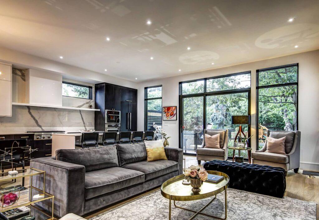 Reflective Ceiling in Custom Living Room - Home Renovation Etobicoke