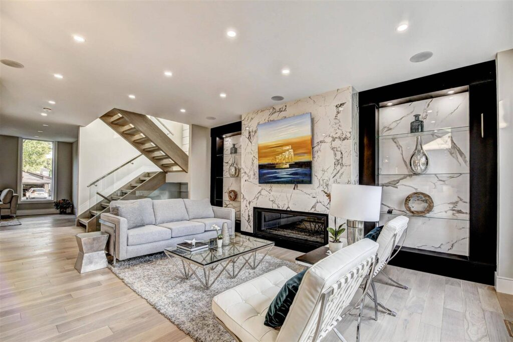 Custom Family Room with Build in Fireplace - Home Renovation Project Etobicoke