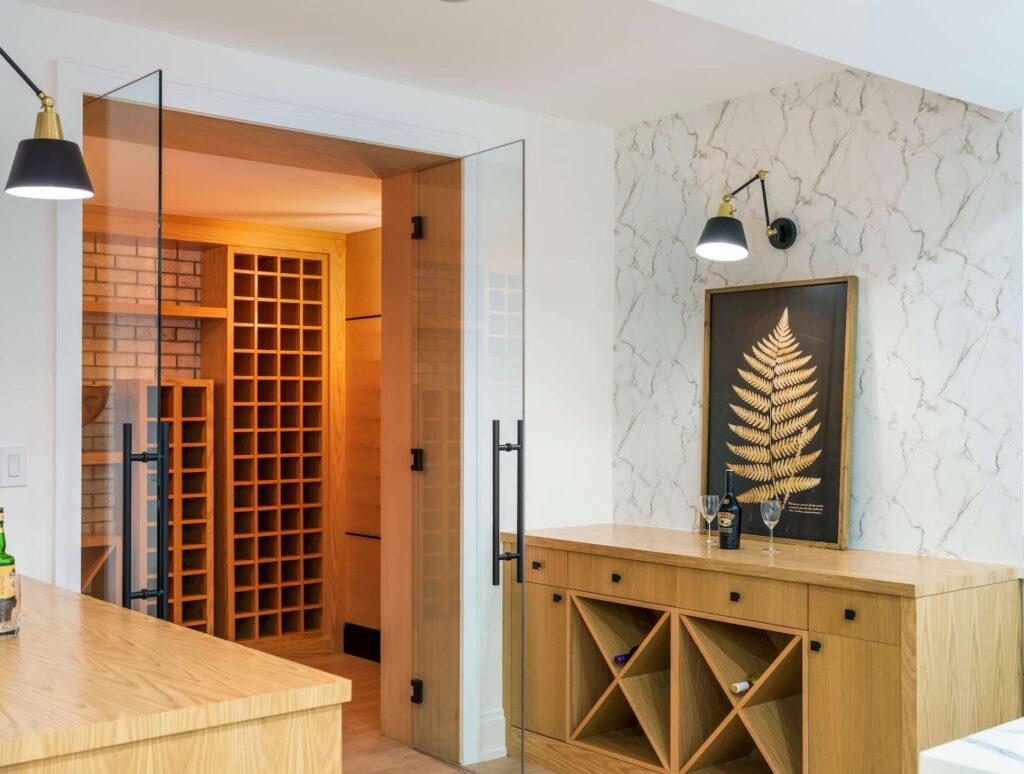 Amazing Wine Shelves in Custom Basement Etobicoke
