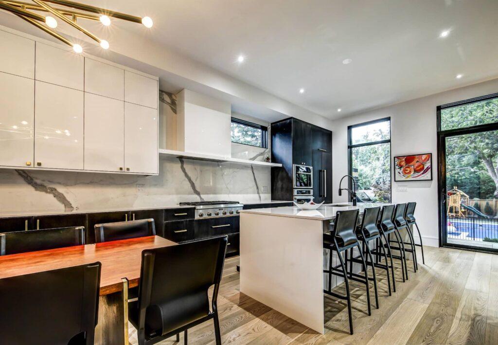 Two Tone White and Black Kitchen Cabinets - Kitchen Renovations Etobicoke